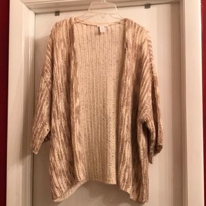 Chico's Khaki Cream knit open cardigan Sz 3